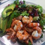 an fried salmon in chillie . King prawns & avacado . Huge baby spinach salad